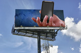 Fototapety Double copy-space mobile telephony billboard