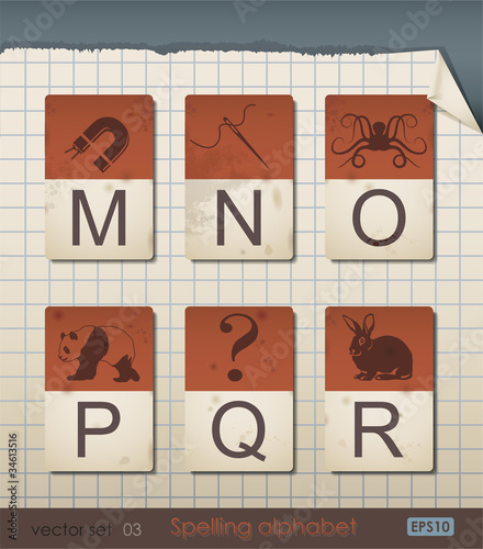 Vintage Spelling Alphabet. Vector Illustration.