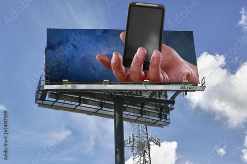 Leinwanddruck Bild Double copy-space mobile telephony billboard