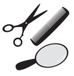 Hairdressing accessories: scissors, comb, hand mirror