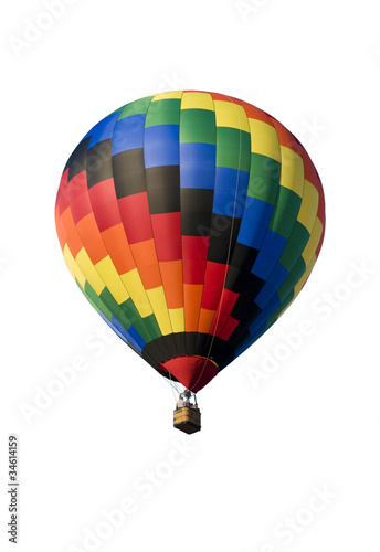 Colorful hot-air balloon on white