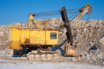 Old excavator at  open pit