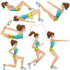 Beautiful girl making exercises
