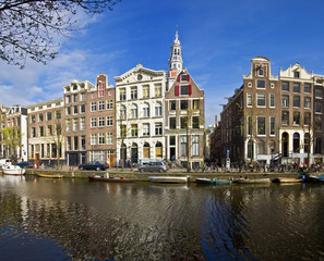Amsterdam Life. Residential homes on the canal.