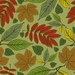 Seamless vector autumn leaves background