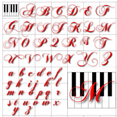 ABC Alphabet background chopin keyboard red design
