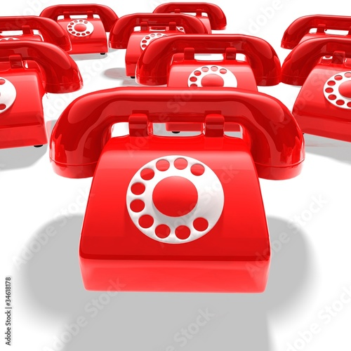 red phone group on white background - 3D render bitmap