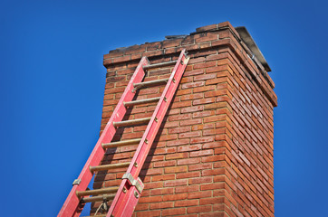 Ladder Against Old Chimney