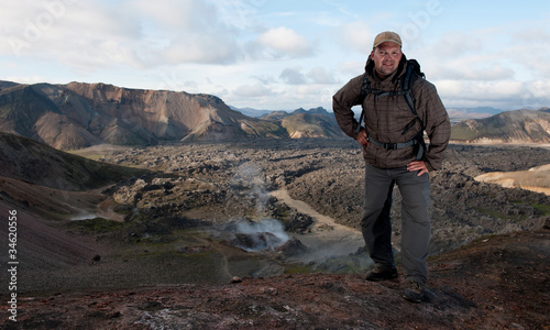 tourist at Landmannalaugar, Iceland