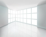 Empty white interior. Vector illustration.