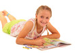 Beautiful young girl coloring in book