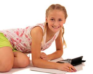 Pretty girl doing homework