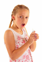 Young girl playing with cigarette lighter