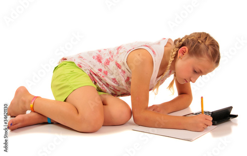 Pretty girl doing homework, white background