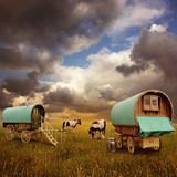 Old Gypsy Caravans, Trailers, Wagons with Horses