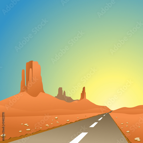 A Desert Landscape with Road, Highway