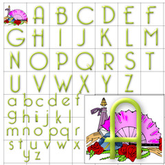 ABC Alphabet background bellerose green design