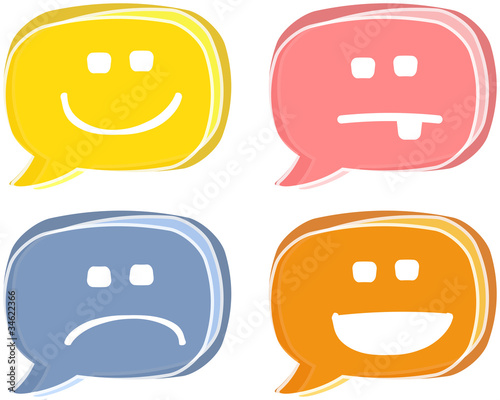 Retro emoticon speech bubbles