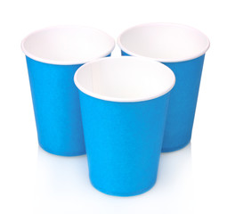 blue plastic cups and isolated on white