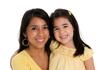 Woman and Daughter On White Background