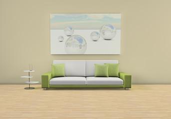 3d Rendering Raum mit Sofa grün weiß