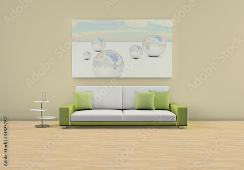 aufkleber 3d rendering raum mit sofa gr n wei fototapeten aufkleber poster leinwandbilder. Black Bedroom Furniture Sets. Home Design Ideas