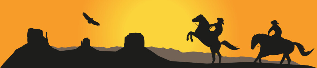Monument Valley Cowboys Silhouette Sunset