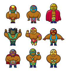 cartoon wrestler icon.