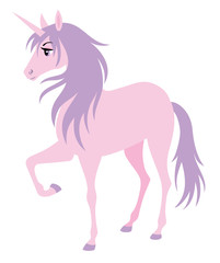 Cute pink unicorn with a purple hair.