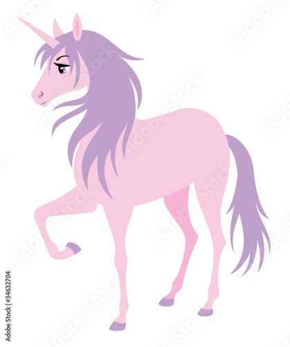 Poster Pony Cute pink unicorn with a purple hair.