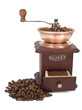 Coffee mill with open box and beans