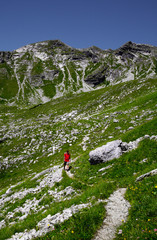 Hiker in the mountains, Allgäu Alps, Bavaria, Germany