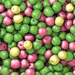 Three varieties of fresh plums