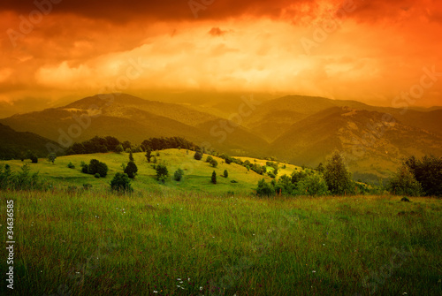 orange mist over mountains