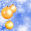 Christmas ball on abstract blue lights. EPS 8
