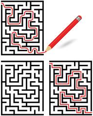 Labyrinth mit und ohne Lösungsweg