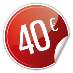 Button Rabatt - 40€ euro sparen reduziert rot