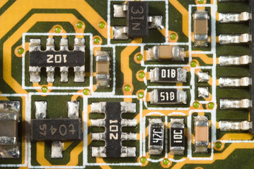 Macro Photo Of A Printed Circuit Board Elements v1