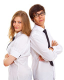 Serious teens in office dress poster