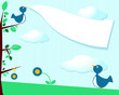 Birds and blank banner