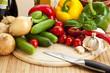 frisches Gemüse schneiden