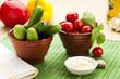 Snack Gemüse mit Knoblauch Dip
