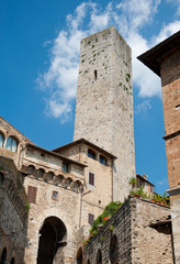 San Gimignano main square tower, tuscany, Italy