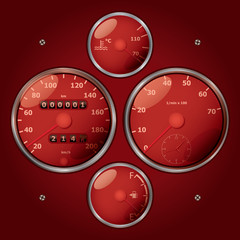 set of classic analog tachometers - realistic illustration