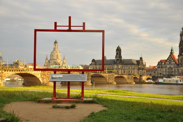 The Church of Our Lady (Frauenkirche) in frame.Dresden(Germany)
