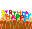 Geburtstag. Kuchen und Kerzen. Konzept einer Karte