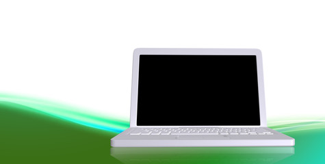 White laptop with black screen