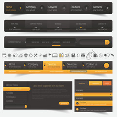 Web design navigation set with icons set