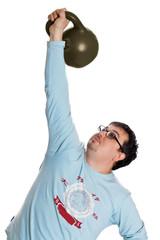 A man raises a weight