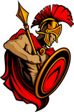 Spartan Trojan Mascot with Spear and Shield